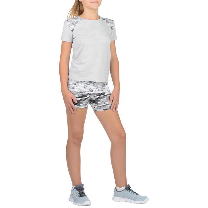 T-Shirt long manches courtes 500 Gym Fille gris blanc - 1302252