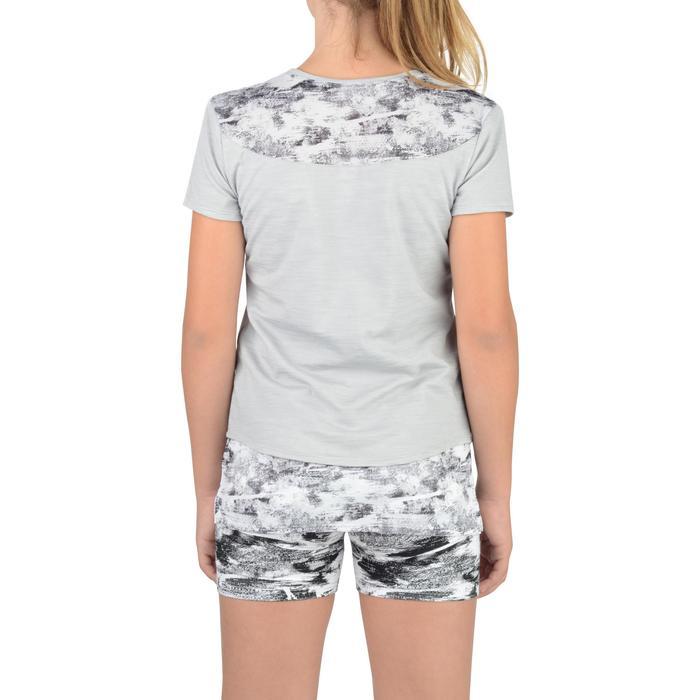 T-Shirt long manches courtes 500 Gym Fille gris blanc - 1302265