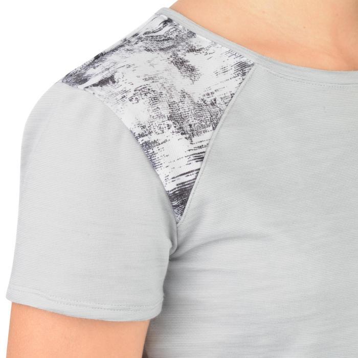 T-Shirt long manches courtes 500 Gym Fille gris blanc - 1302268