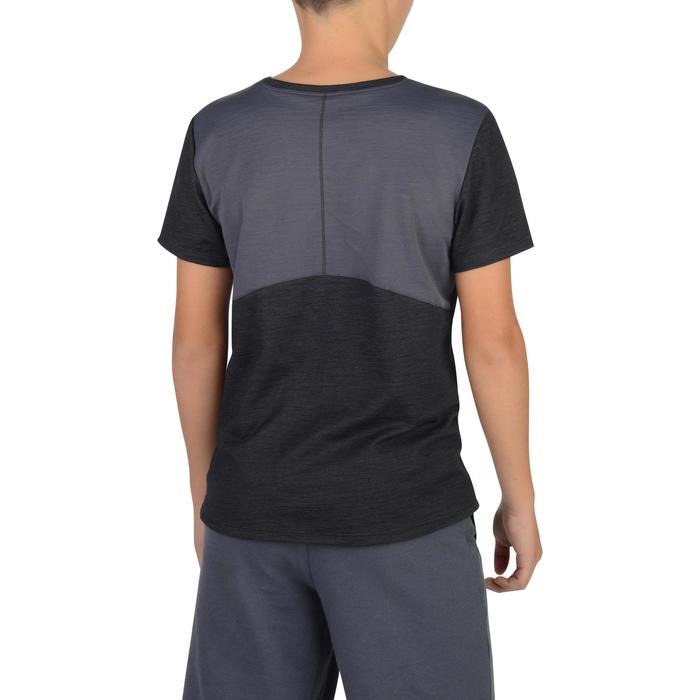 Gym T-shirt met korte mouwen 500 voor jongens grijs zwart