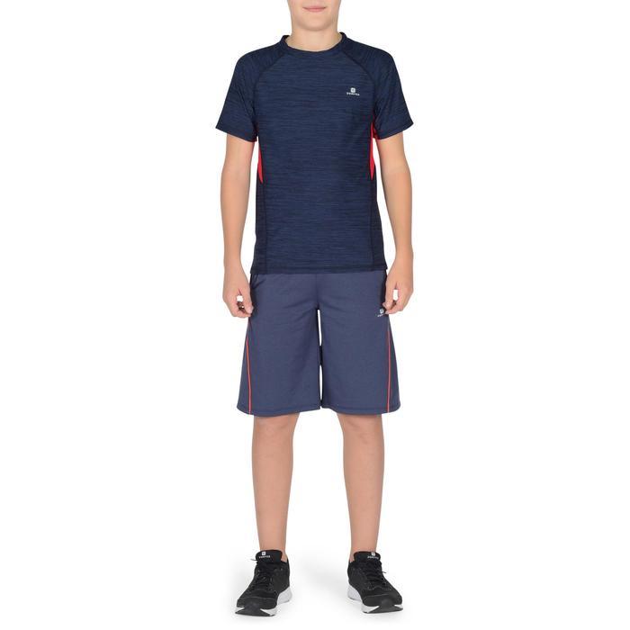 Camiseta de Manga Corta Gimnasia Domyos S900 Niños Azul Marino/Rojo
