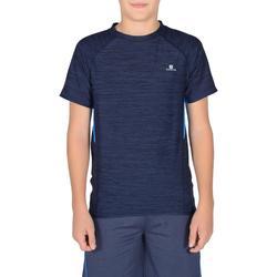 Camiseta de Manga Corta Gimnasia Domyos S900 Niños Azul Marino