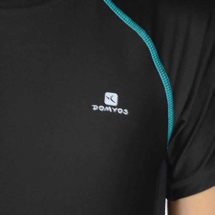 Gym T-shirt met korte mouwen slim fit S900 voor jongens zwart met opdruk