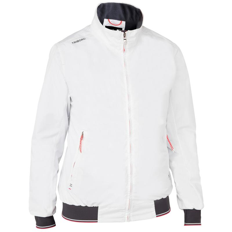 Women's Sailing 100 waterproof and windproof sailing anorak - white