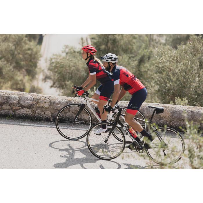 Kurze Fahrrad-Trägerhose Rennrad 900 Herren blau/rot