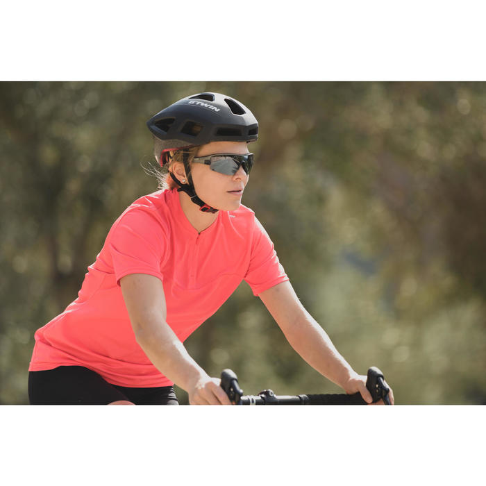 MAILLOT MANCHES COURTES VELO ROUTE FEMME TRIBAN 100 ROSE