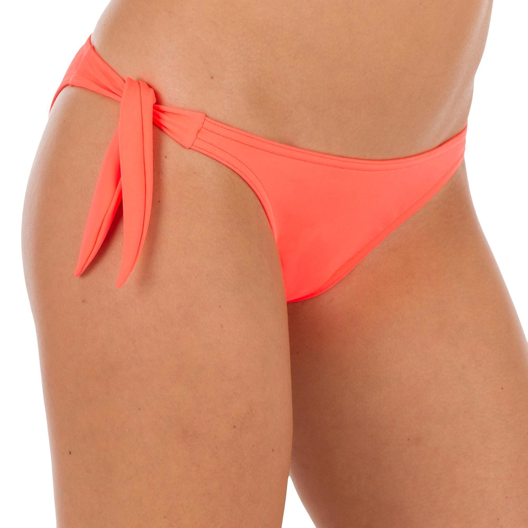 5fea7508b15 - Sabi Women's Tie-Side High-Leg Swimsuit Bottom Bikini Briefs - Neon Coral