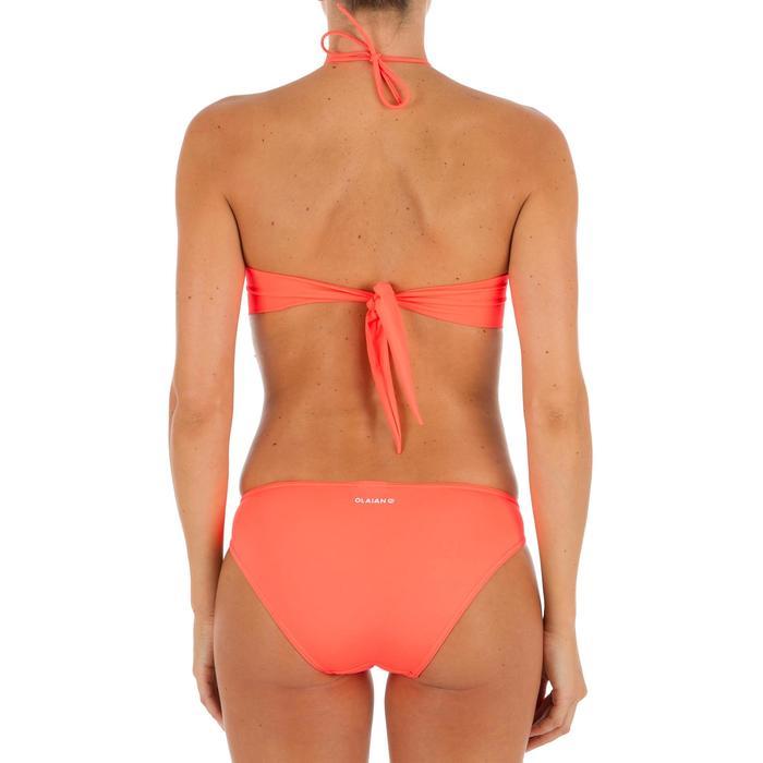 Braguita de bikini de surf mujer corte pierna alto anudada lados SABI CORAL FLUO
