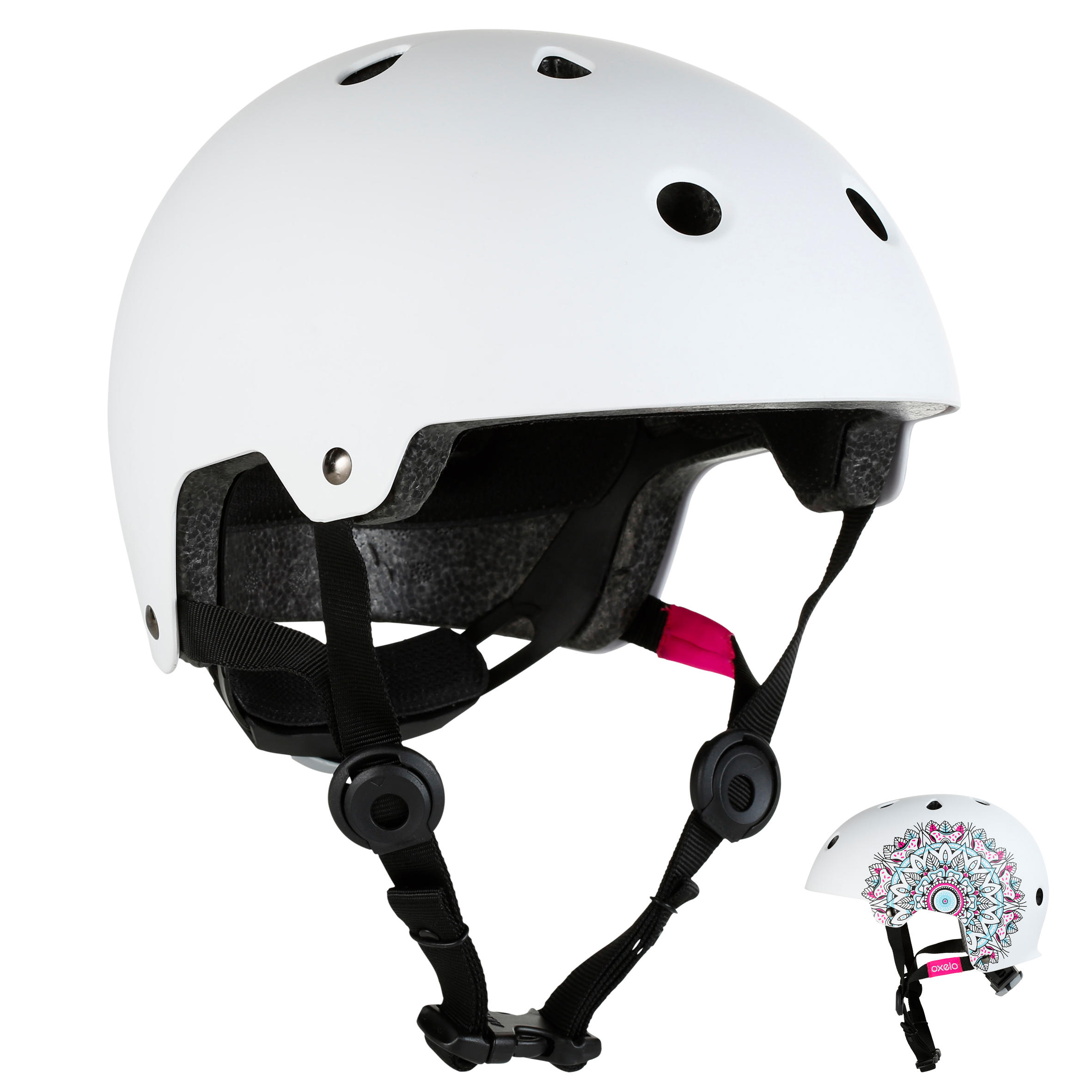 Play7 Mandala Skate Skateboard Scooter Bike Helmet - White