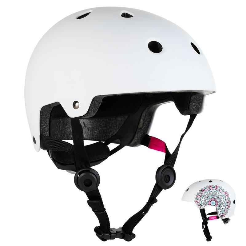 Helm voor skeeleren skateboarden steppen Play 7 Mandala wit