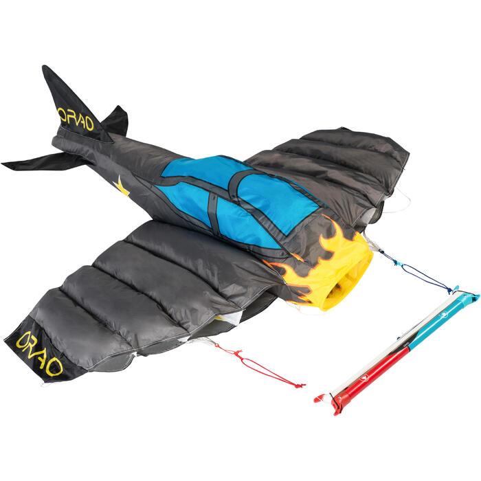 Cometas acrobáticas Playa Orao 3D AVIÓN 180 Para Niños Gris/Azul