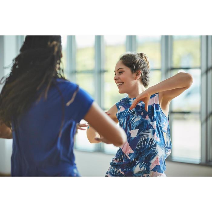 Tanz-Top Damen Print blau/weiß
