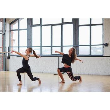 Pantalon de danse taille et bas de jambe élastiqués fille noir - 1304897