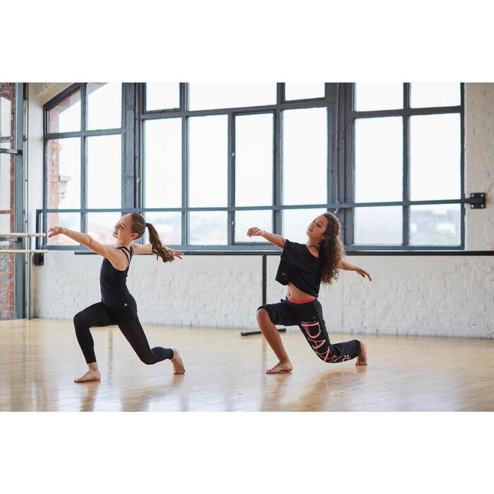 Tunique de danse à doubles bretelles fille noire - 1304897