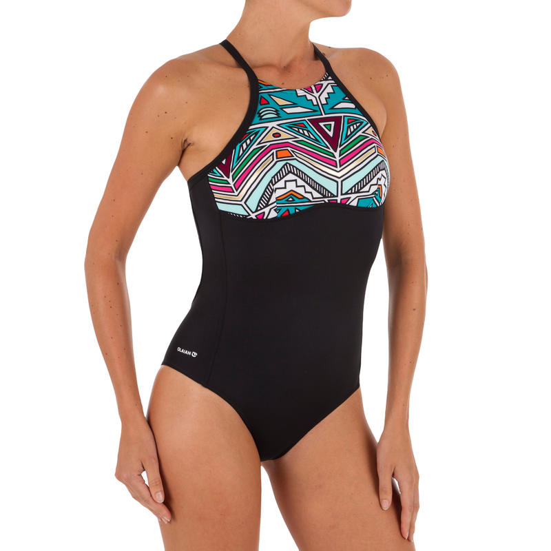 WOMEN'S ONE-PIECE X-BACK CROP TOP SWIMSUIT ANDREA NCOLO with removable cups