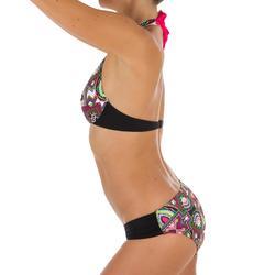 Bikini-Hose Niki Longi seitlich gerafft Surfen Damen schwarz