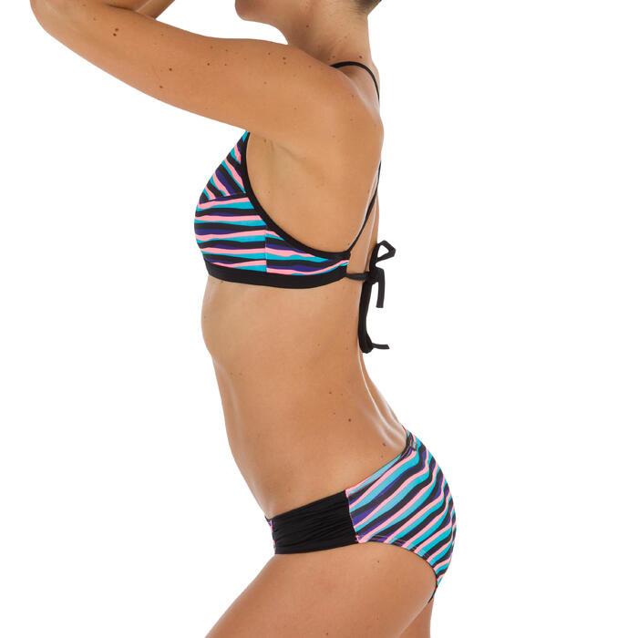 Braga Bikini Surf Brasileña Olaian Niki Wave Mujer Fruncido lateral Azul Fluor