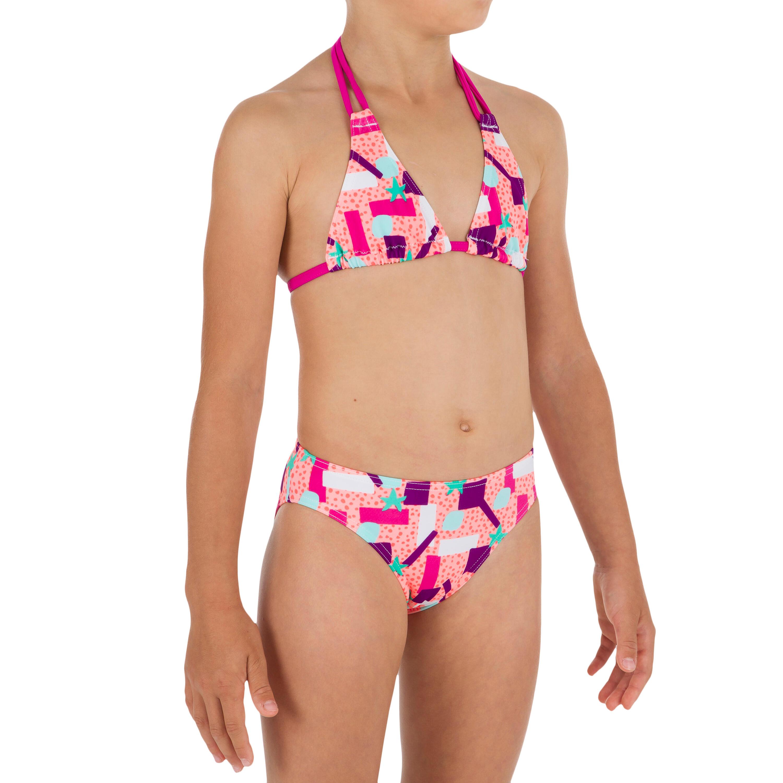Olaian Triangelbikini voor meisjes Taloo Lagoon koraal