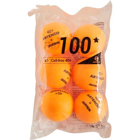 PELOTA DE PING PONG TTB 100* 40+ x6 NARANJA