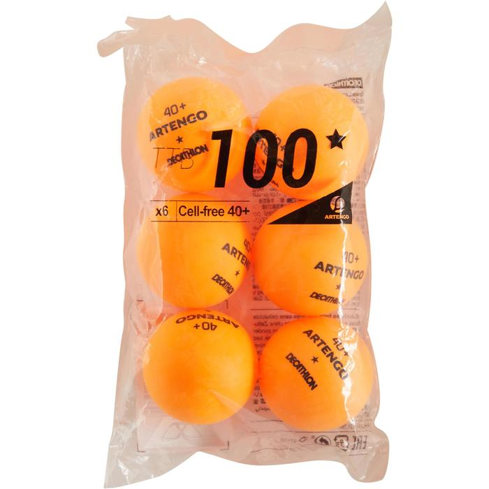 BALLES DE TENNIS DE TABLE TTB 100 1* 4+ X6 ORANGE - 1305593