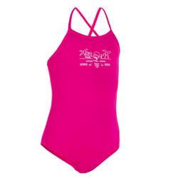 Hanalei Girls' One-Piece Crop Top Swimsuit - Wave It Easy Pink