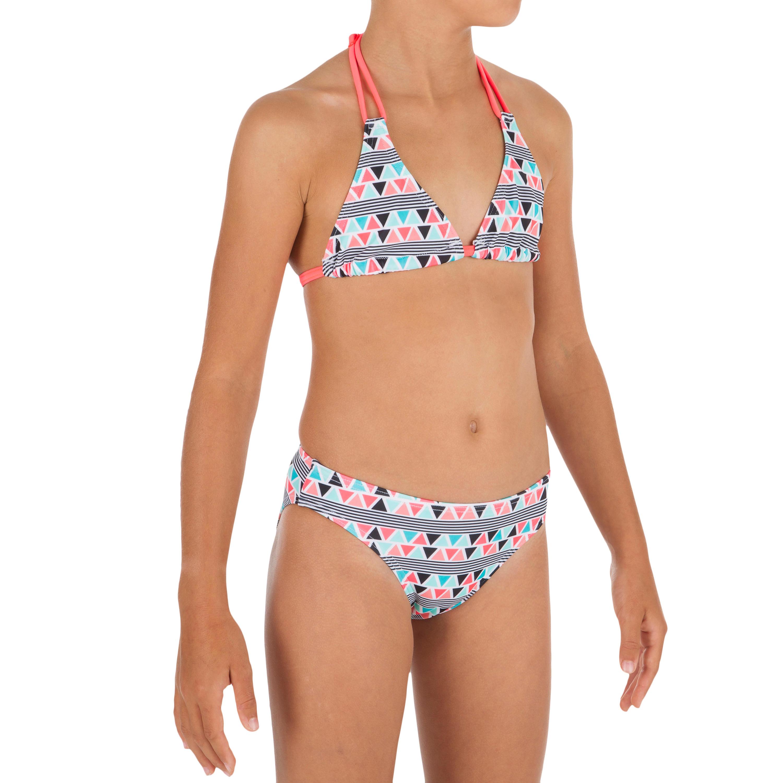 Top de bikini para niña TRIÁNGULOS TALOO LIMA AZUL