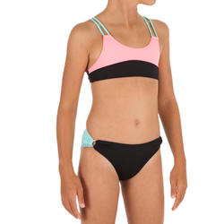 Bianca Girls' Two-Piece Surfing Crop Top Swimsuit - Colour Block Origami Black