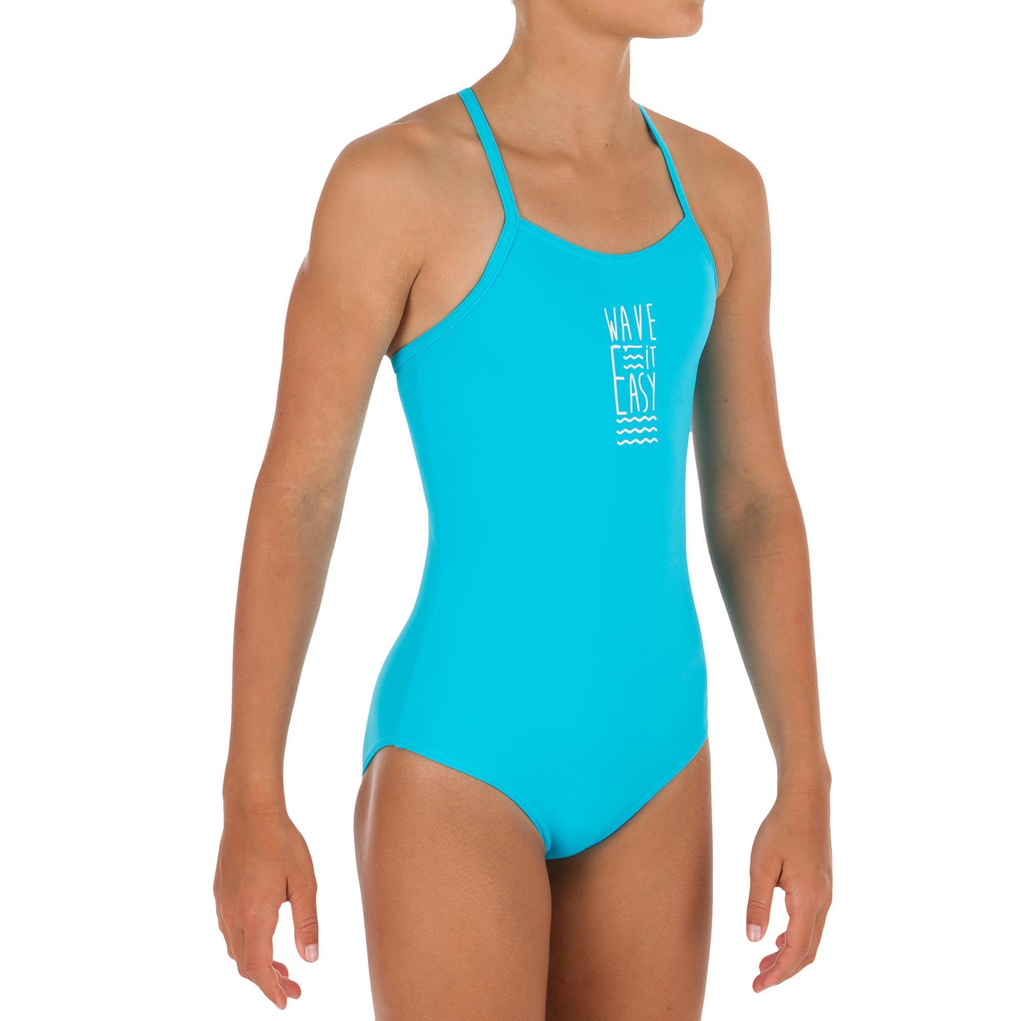 Olaian Halter badpak voor tienermeisjes Hanalei Wave It Easy blauw