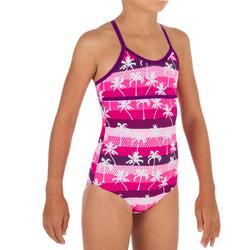 Meisjesbadpak met gekruiste bandjes op de rug Haloa Palmy Hollywood roze