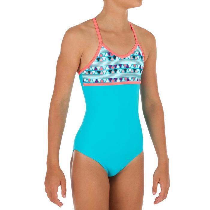 Bañador de 1 pieza para niña con espalda cruzada HALOA LIMA azul