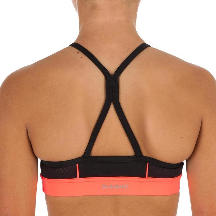 Bikinitop met gekruiste bandjes op de rug voor surfen Baha zwart
