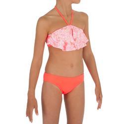 Meisjesbikini bandeaumodel met lange ruches Lou Malou koraal