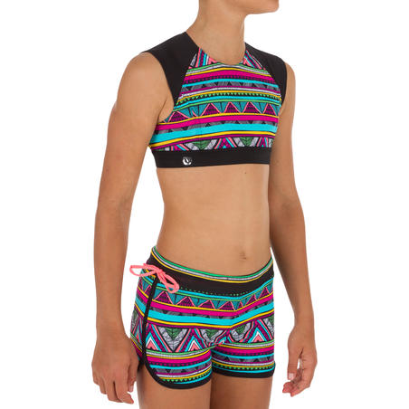 Bella Back Zip Crop Top Surfing Swimsuit - Naimi