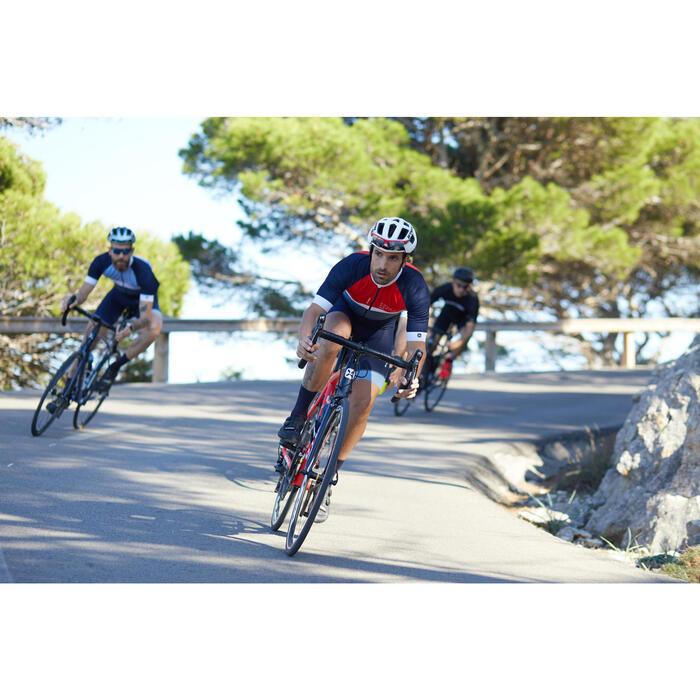 Kurzarm-Radtrikot Rennrad 500 Herren marineblau/rot/weiß