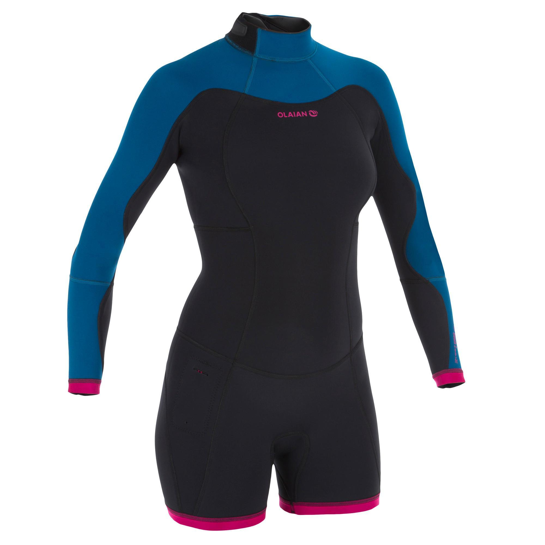 43794c3430e922 Olaian Dames shorty 900 met lange mouwen voor surfen neopreen blauw roze