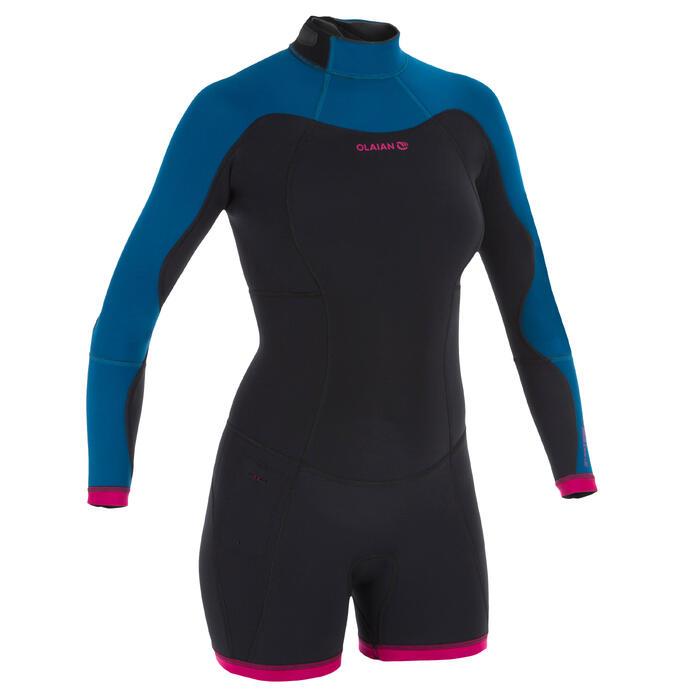 Dames shorty 900 met lange mouwen voor surfen neopreen blauw roze