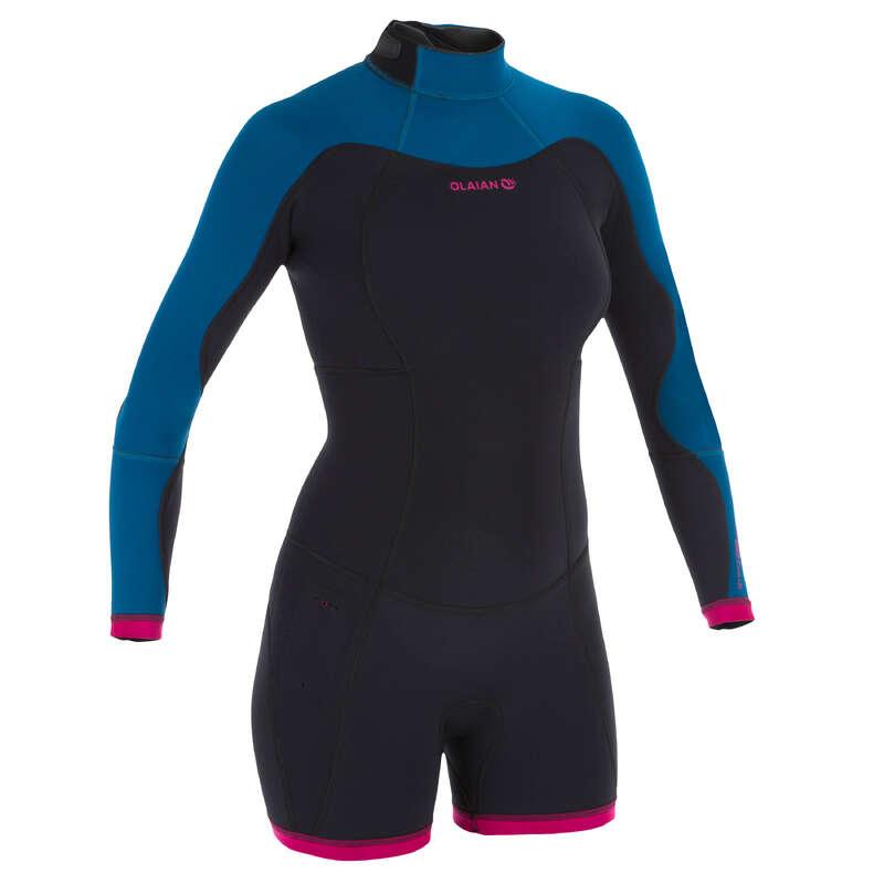 stilul rafinat nouă ieftin Combinezon Shorty Surf 900 Neopren Albastru /Roz Damă OLAIAN - Decathlon.ro