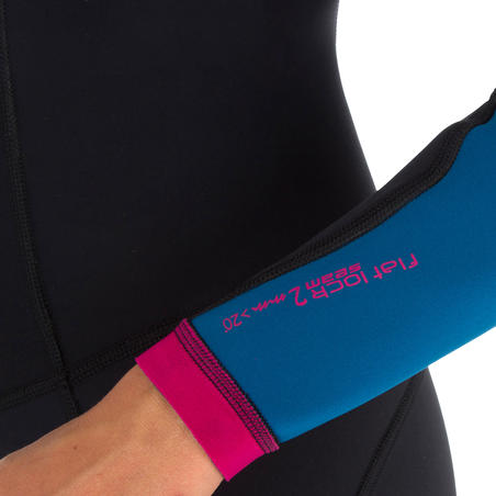 900 Women's Long Sleeve Neoprene Shorty Surfing Wetsuit - Blue/Pink