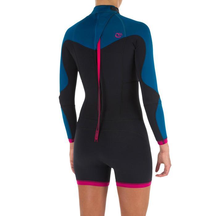 Combinaison SURF shorty 900 Néoprène Manches Longues Femme bleu rose