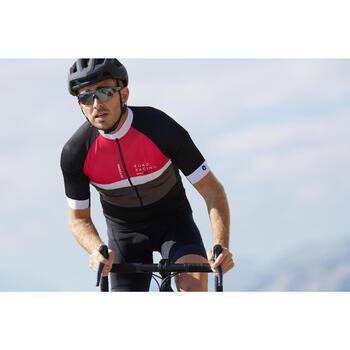 Kurzarm-Radtrikot Rennrad 500 Herren schwarz/grau/rosa