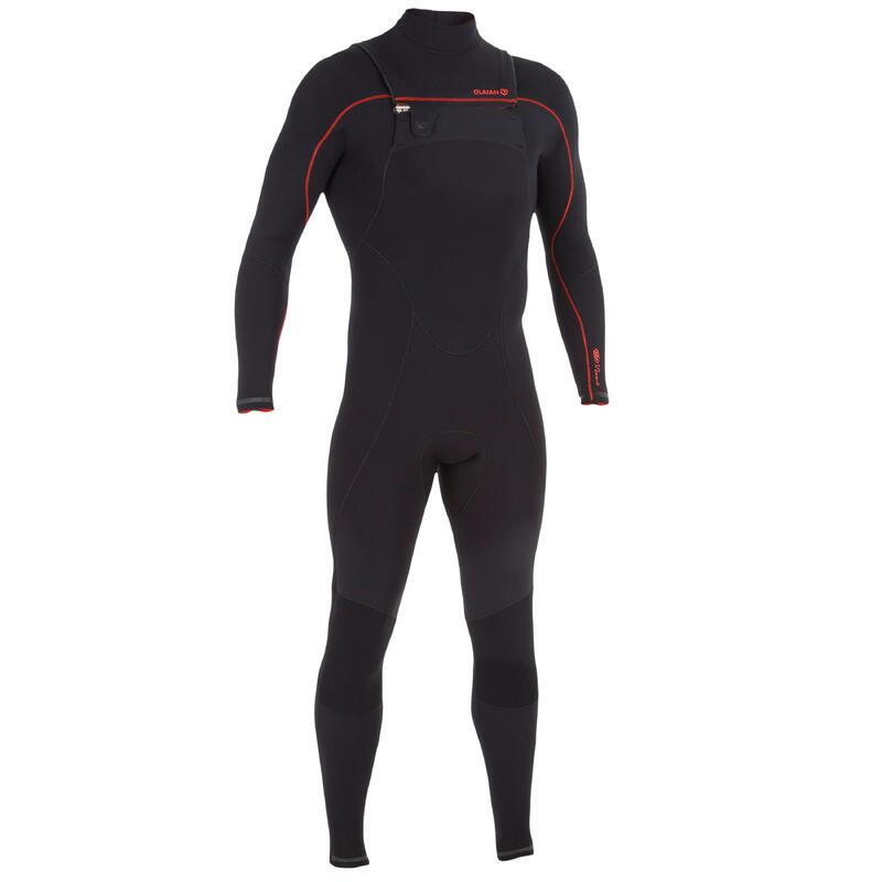 900 men's 3/2 mm neoprene front zip surfing wetsuit - black