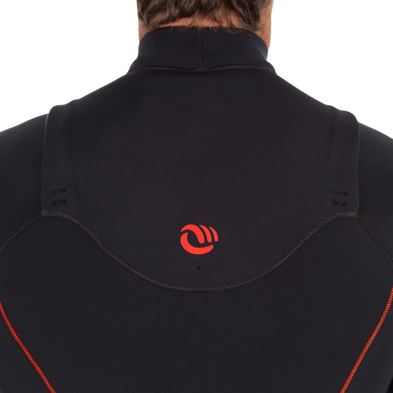 900 men's 3/2 mm neoprene front zip surfing wetsuit - black