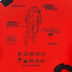Heren surfpak 900 neopreen 3/2 mm rits op de borst zwart
