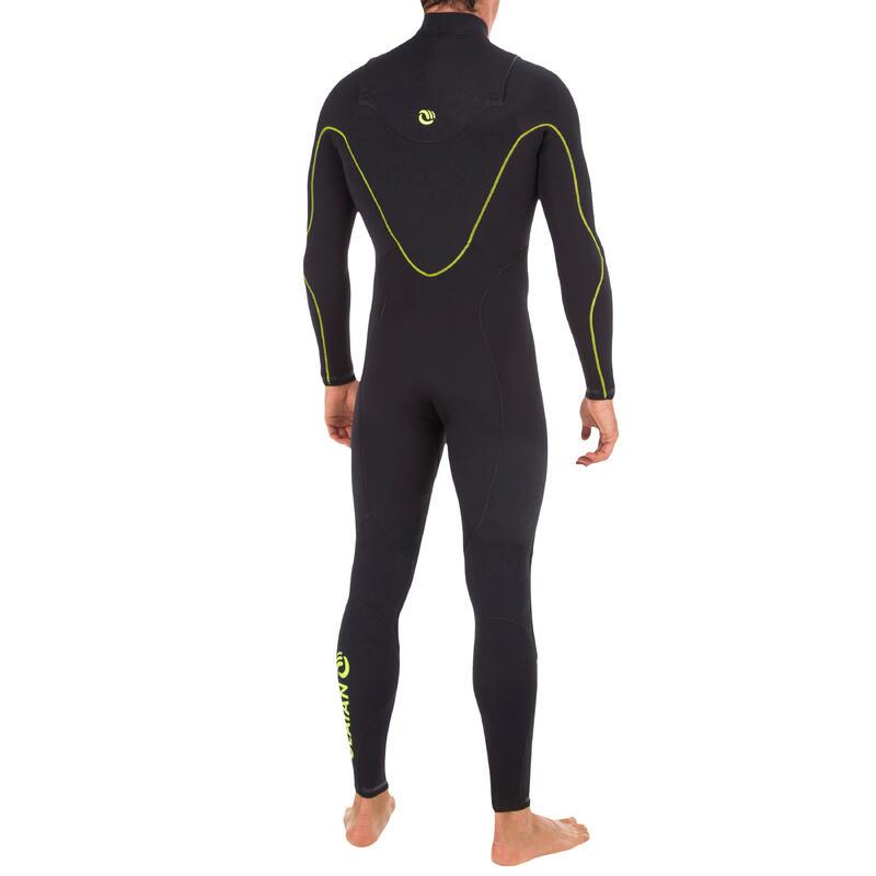 900 Men's 4/3 mm Neoprene Front Zip Surfing Wetsuit - Black