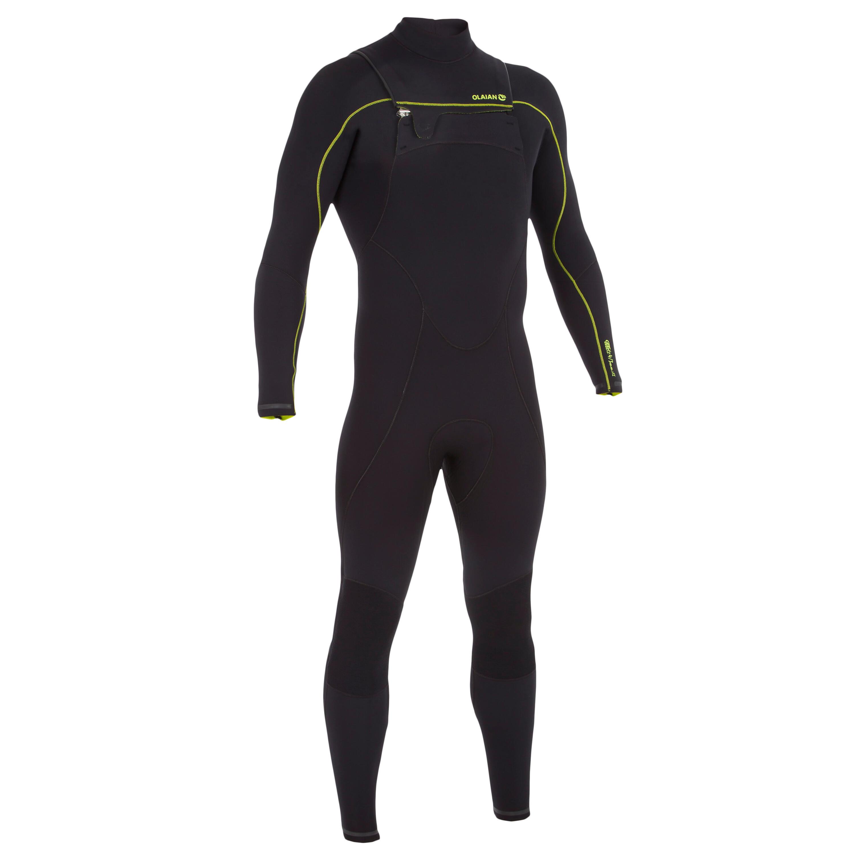 Olaian Heren surfpak 900 neopreen 4/3 mm rits op de borst zwart