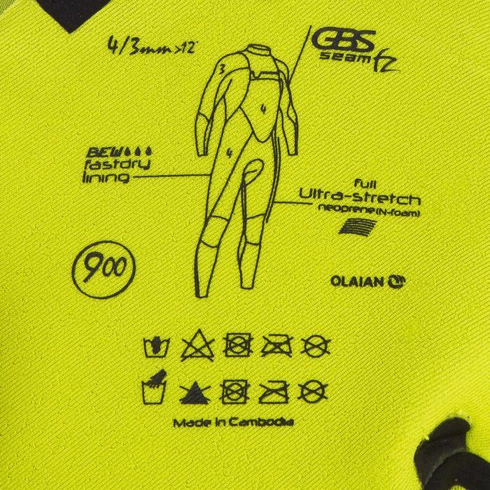 Combinaison Surf 900 Néoprène 4/3 mm Zip Poitrine Homme Noir - 1306507