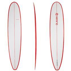 Planche de surf Longboard 500 9' avec ailerons FCS.