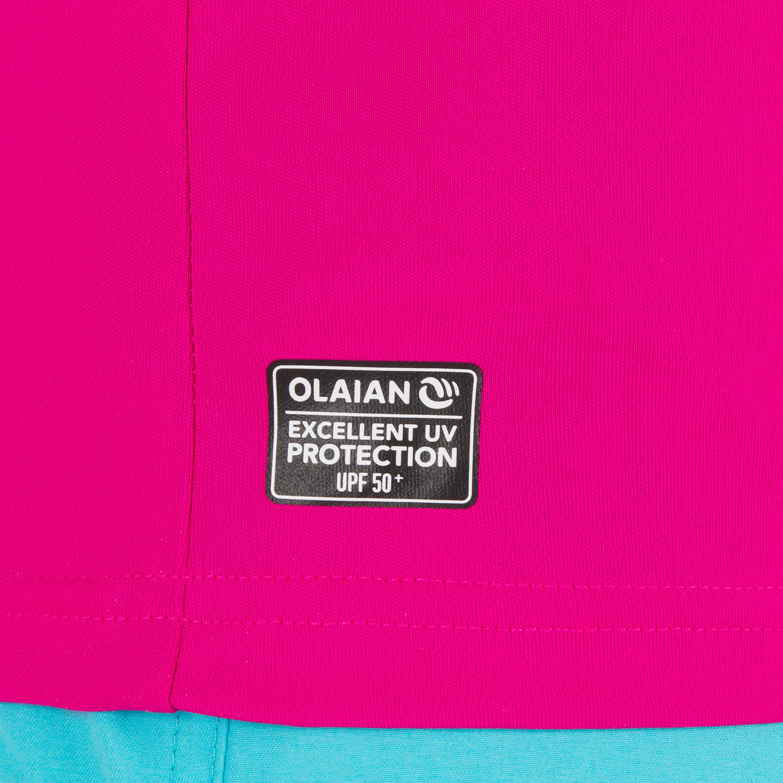 water tee shirt anti UV Surf manches courtes Enfant Rose
