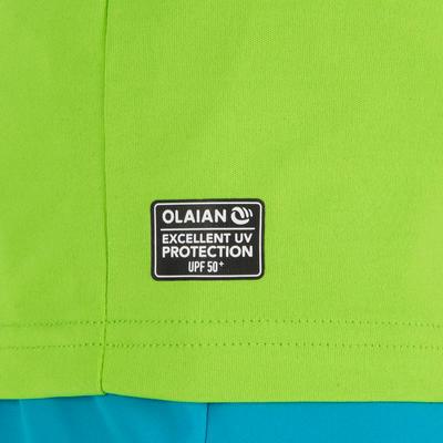 חולצת טי קצרה לילדים להגנה מפני קרני UV לגלישה במים- ירוק