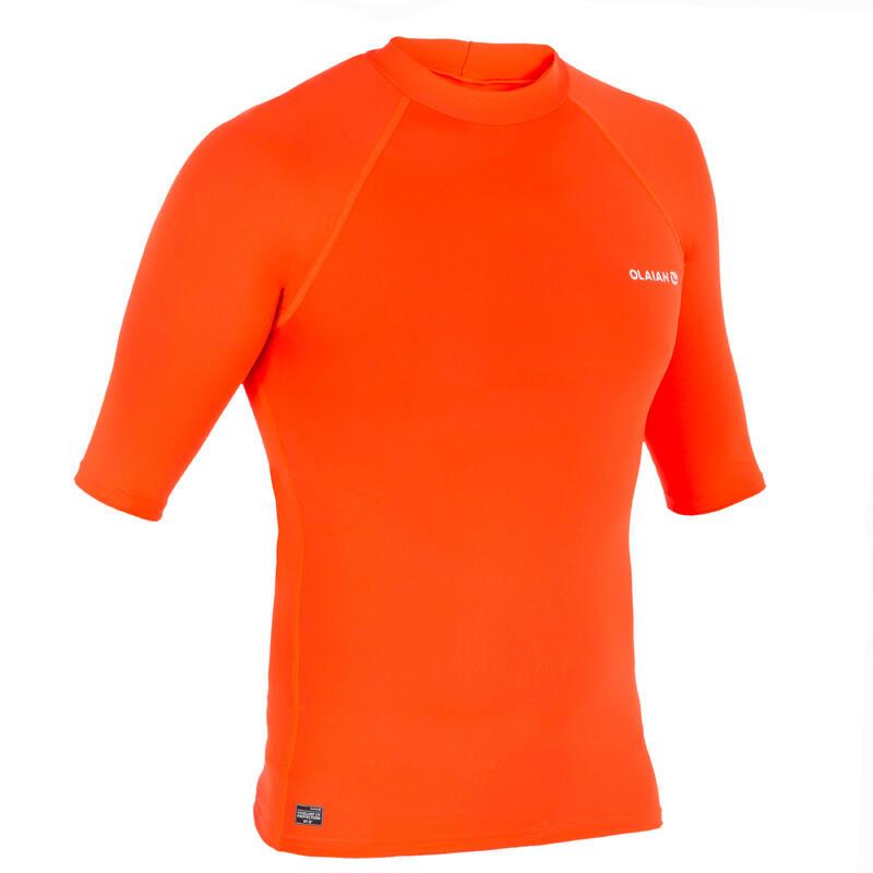 tee shirt anti uv surf top 100 manches courtes homme orange fluo